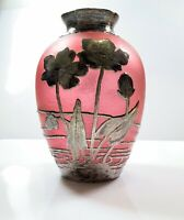 Antique Sterling Silver Overlay Pink Cameo Glass Vase Floral Design