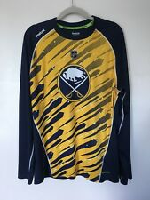 Mens Reebok NHL Buffalo Sabres Blue Yellow Long Sleeve Shirt - Size Large*