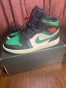 Air Jordan 1 Mid Pine Green 554724-067 Size 9 Mens Pre-Owned