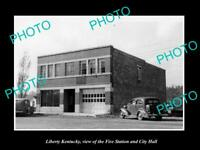 OLD POSTCARD SIZE PHOTO OF LIBERTY KENTUCKY THE CITY HALL & FIRE STATION c1940