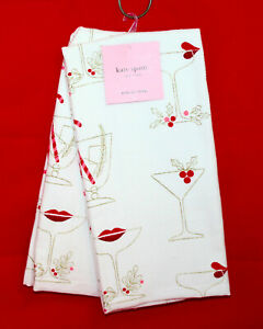 NWT KATE SPADE 2 Holiday Kitchen Towels Champagne Martini Glasses Lipstick Holly