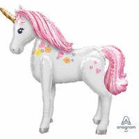 LARGE UNICORN AIRWALKER BALLOON MAGICAL FANTASY PARTY DECORATION PROP 116CM HIGH