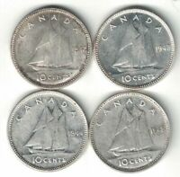 4 X CANADA 10 CENTS DIMES KING GEORGE VI SILVER COIN 1942 1943 1944 1945