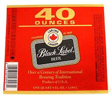 G Heileman Brewing CARLING CANADA BLACK LABEL BEER foil label TX 40oz #56643 I