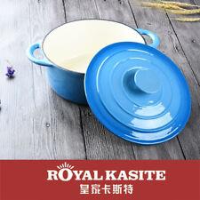 Blue Cast Iron Casserole Round 24cm porcelain Enamel Pot Dutch Oven pan 4L