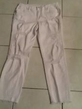Jag Jeans Mid Rise Slim Ankle White Crop Jeans Destroyed Ripped Size 10 Preowned