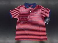 Boys Nautica $34.50 Dark Pink & Navy Striped Wicking Polo Shirt Size 4 - 7X