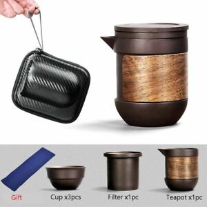 Ceramic Tea Set Purple Sand Japanese Portable Travel Outdoor Kung Fu Pot And Cup