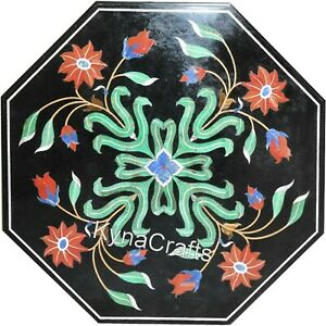 Octagon Black Marble Coffee Table Top Mosaic Art Corner Table for Decor 15 Inch