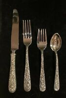 Kirk  Repousse sterling silver flatware set, 4 settings 4 pieces 16 total