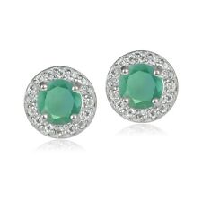 Sterling Silver 0.95ct Emerald & White Topaz 5mm Halo Stud Earrings