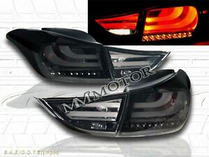 2011 - 2013 ELANTRA TAIL LIGHTS LED SMOKE 4 PIECES OUTER PCS WITH BULB