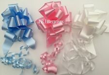 Pack 3 Qty 31mm PULL BOWS baby pink,blue,white Astic Group gift baskets Balloon