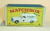Matchbox Lesney Product No 3  Mercedes Benz Ambulance Empty Repro Box style D