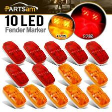 14x Trailer Marker LED Light Double Bullseye 10 Diodes Clearance Light Red/Amber