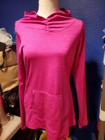 Women's New Balance Dry Pink Long Sleeve Hooded Shirt With Thumbholes Size Large