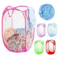 Laundry Hamper Bag Basket Foldable Mesh Lightweight Collapsible Portable Pocket