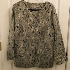 Soft by Avenue Blazer Jacket Shimmery Black & Silver Paisley Size 14 / 16
