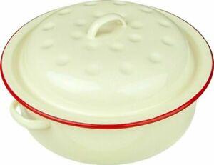 20cm ENAMEL ROUND ROASTER DISH ROASTING OVEN TRAY CASSEROLE PAN CREAM WITH LID