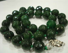 """12mm Natural Emerald Faceted Beads Necklace 18"""" JN1023"""