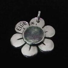 Fingerprint Jewellery - Silver Fingerprint Centre Flower Charm - Gifts For Her