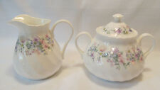 Wedgwood England Fine Bone China ANGELA Sugar Bowl with Lid Creamer Jug