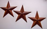 "Set of 3 Rust Brown Black BARN STARS  8"" WALL DECOR PRIMITIVE COUNTRY americana"