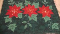 Vintage Set (4) Christmas Placemats Green Red Poinsettia Dining Room Decor   54