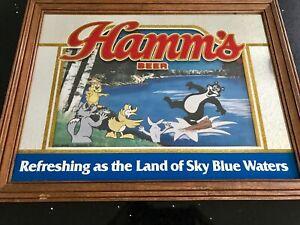 Hamms Beer Mirror Sign Bear Bar  Hamm's Land of Sky Blue Waters Vintage & Rare