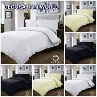 NEW STYLISH PLAIN FRILLED EDGE DUVET SET BEDDING SET QUILT COVER PILLOW CASE