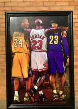 NBA Legends Kobe Bryant Michael Jordan Lebron James Wood Framed Textured Picture