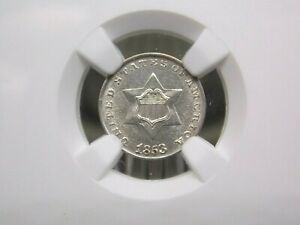 1853 Three Cent Silver Coin 3CS NGC UNC Details East Coast Coin & Collectables