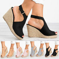 Womens Ankle Strap Wedge Heel Espadrilles Sandals Ladies Casual Shoes Size 5-8.5
