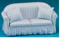 Dollhouse Miniatures 1:12 Scale Sofa with Pillows, Blue/White Stripe #CLA10949