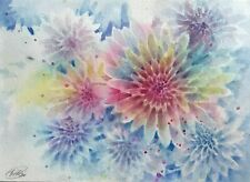 Original Painting Chrysanthemums Flowers Garden Watercolor Listed By Artist USA