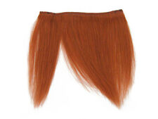 CLIP-IN HUMAN HAIR FRINGE BANGS CYBERLOX COPPER ORANGE UNCUT 8""