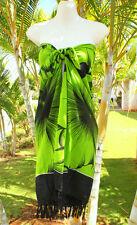 Sarong Hawaii  pareo  Beach Cover-up Wrap Dress ~ LIME GREEN GIANT HIBISCUS