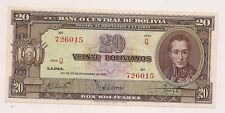 20 Dec 1945 Banco Central De Bolivia Veinte Bolivianos Banknote--Unc Condition !