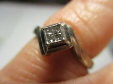 Plata de Ley Antiguo IKS Cuatro Princesa Diamante Promiss Compromiso Anillo 6
