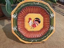 Scalloped Edge Rooster Plate Red, Yellow, Green