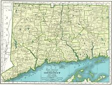 1947 Vintage CONNECTICUT MAP Antique Map of Connecticut State Map 5049