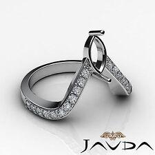 Diamond Pave Set Designer Wedding Ring Marquise Semi Mount 14k White Gold 0.35Ct