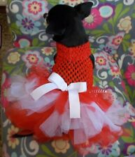 RED FESTIVE DOG DRESS - IDEAL FOR TOY BREED - CHIHUAHUA