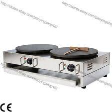 "Commercial Nonstick Electric 15.7"" 40cm Double Crepe Maker Pancake Machine Baker"