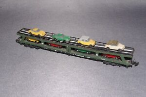 MARKLIN GERMAN DOUBLE BOGIE CAR TRANSPORTER WITH CAR LOAD  - Z Gauge