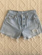 LEVIS 501 Womens High-Rise-Waist Medium-Light Wash Cutoff Denim Jean Shorts W 28