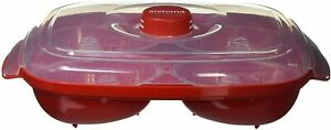 2 x Sistema Microwave Egg Poacher for Up to 4 Eggs, 28.7 x 20.5 x 8.4 cm, Red