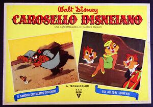 fotobusta film CAROSELLO DISNEIANO - WALT DISNEY animazione Cip e Ciop 1955