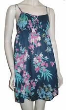 Strappy Summer Sun Dress Size Small Cotton Green Floral Holidays Sundress