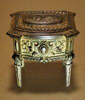 Cofre Caja De Joyero Cómoda Lxvi S.XIX Debxxe Metal Dorado Interior Tapizada